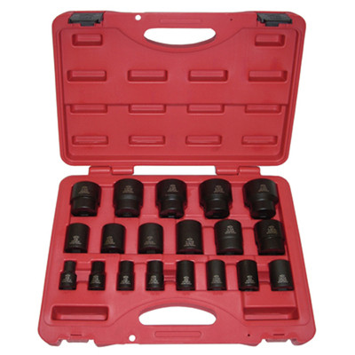 "K Tool 33101 Impact Socket Set, 1/2"" Drive, 19 Piece, 3/8"" to 1-1/2"", Shallow, 6 Point, in Case"