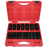 "K Tool 33202 Impact Socket Set, 1/2"" Drive, 19 Piece, 3/8"" to 1-1/2"", Deep, 6 Point, in Case"