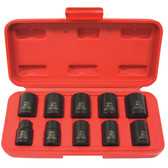 """K Tool 37100 Impact Socket Set, 3/8"""" Drive, 10 Piece, 10mm to 19mm, 6 Point, Shallow"""