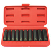 "K Tool 37200 Impact Socket Set, 3/8"" Drive, 10 Piece, 10mm to 19mm, 6 Point, Deep"
