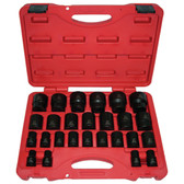 "K Tool 38101 Impact Socket Set, 1/2"" Drive, 26 Piece, 10mm to 36mm, Shallow, 6 Point, in Case"