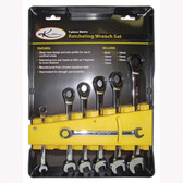 K Tool 45500 Ratcheting Combination Wrench Set, 7 Piece, 8mm to 18mm, Sleek Head Design, All Metal Construction