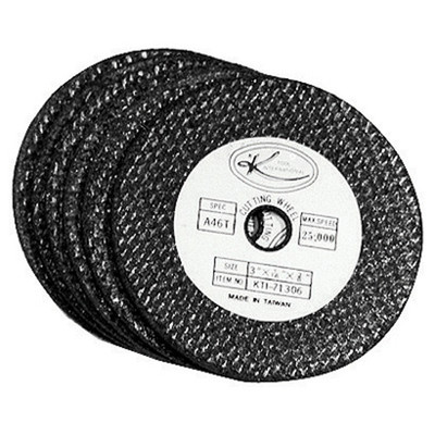 """K Tool 71306 Abrasive Cut Off Discs, 3"""" Diameter, 3/8"""" Arbor, 1/16"""" Thick, Carded Pack of 6"""