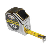 "K Tool 72612 Tape Measure, 12' Long, 1/2"" Wide, Fractional and Metric Markings, with Automatic Return Lever"