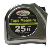 "K Tool 72625 Tape Measure, 25' Long, 3/4"" Wide, Fractional and Metric Markings, with Automatic Return Lever"