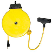 K Tool 73340 Retractable Extension Cord Reel, Metal Housing, 30' Yellow