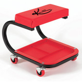 "K Tool 74981 Padded Creeper Seat, 7"" x 14"", with Plastic Storage Tray, Four 2-1/2"" Rubber Casters, Metal Frame"