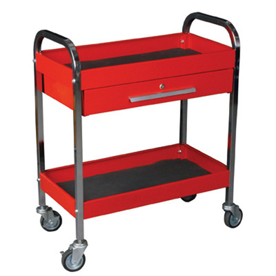"K Tool 75105 Metal Utility Cart, Red, Locking Drawer, 2 Shelves, 3"" Swivel Casters, 17-1/2 W x 29-1/4"" L x 34"" H"