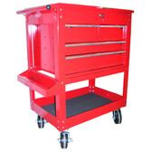 "K Tool 75140 Metal Utility Cart, Red, 4 Drawers with Locking Cover, 5"" Swivel Casters, Screwdriver Holder in Lid"