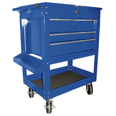 "K Tool 75141 Metal Utility Cart, Blue, 4 Drawers with Locking Cover, 5"" Swivel Casters, Screwdriver Holder in Lid"