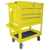 "K Tool 75143 Metal Utility Cart, Yellow, 4 Drawers with Locking Cover, 5"" Swivel Casters, Screwdriver Holder"