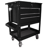 "K Tool 75145 Metal Utility Cart, Black, 4 Drawers with Locking Cover, 5"" Swivel Casters, Screwdriver Holder"