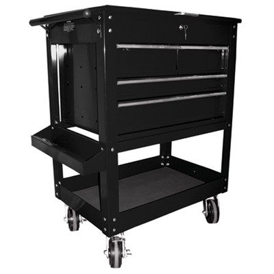 """K Tool 75145 Metal Utility Cart, Black, 4 Drawers with Locking Cover, 5"""" Swivel Casters, Screwdriver Holder"""
