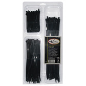 "K Tool 78004 Nylon Tie Assortment, 400 Piece, Black, with 200 4"", 100 7"" and 100 11"" Ties, in Case"