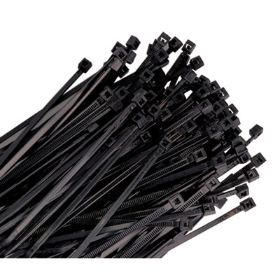 "K Tool 78180 Nylon Ties, 18"" Long, Black, Heavy Duty, 120 lb Tensile Strength, 25 per Package"