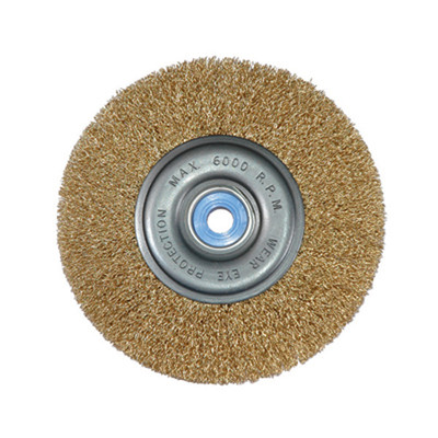 "K Tool 79201 Crimped Wire Wheel, 6"" Diameter, 1/2"" x 5/8"" Center Hole, Coarse, Medium Face, 6000 Max RPM"