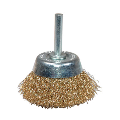 "K Tool 79215 Crimped Wire End Cup Brush, 2"" Diameter, Coarse, 1/4"" Stem, 4500 Max RPM"