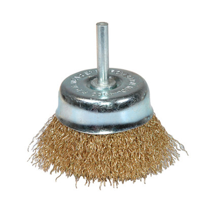 "K Tool 79216 Crimped Wire End Cup Brush, 3"" Diameter, Coarse, 1/4"" Stem, 4500 Max RPM"