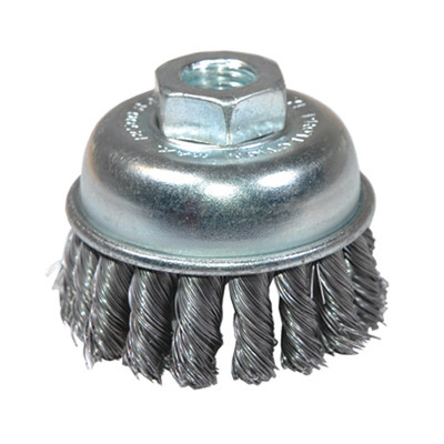 "K Tool 79220 Knotted Wire Cup Brush, 2-3/4"" Diameter, Extra Coarse, 5/8"" x 11 Threaded Center, 12,500 Max RPM"