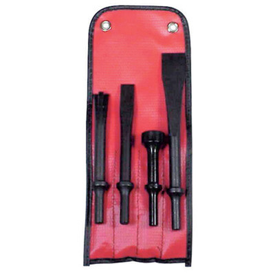 K Tool 81900 Pneumatic Bit Set, 4 Piece, with Panel Cutter, Cold Chisel, Hammer and Scraper, in Pouch