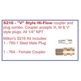 Milton S216 V STYLE HI FLOW COUPLER & PLUG