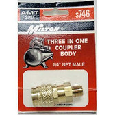 "Milton S746 3-Way 1/4"" Male Body ""A, M & T"