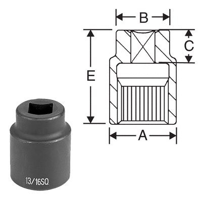 "Grey Pneumatic 5313S #5 Spline x 13/16"" Square - 4 Point Socket"