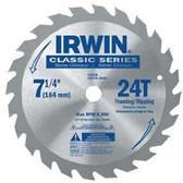 "Irwin 15130 7-1/4""x24T Arbor Circular Saw Blade"