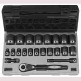 "Grey Pneumatic 82622 1/2"" Dr. 22pc Fractional Duo-Socket Set - 6 Pt."