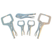Irwin 544T Vise Grip Locking Pliers C-Clamp Set, 5 Piece, Includes Two 11R, Two 6R and One 10R, Boxed