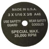 "SG Tool Aid 94860 Cut-Off Wheels 3"" x 1/16"" x 3/8"" Hole-5 per Display Card"