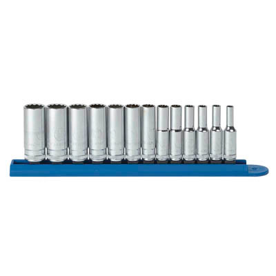 "Gearwrench 80308 13 piece 1/4"" Drive 12 point Deep Metric Socket Set"