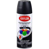 Duplicolor 51613 Krylon Indoor/Outdoor Paint, Satin Black, 12 Oz Can, Fast Drying, Weather Resistant