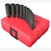 "Sunex 1812 1/4"" Dr. 9 Pc. Metric Deep Impact Socket Set"