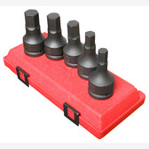 "Sunex 4507 3/4"" Dr. 5 Pc. Metric Hex Drive Impact Socket Set"