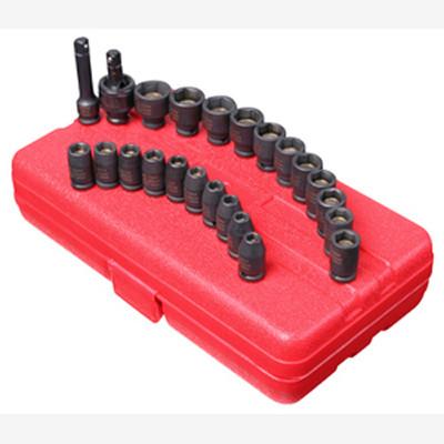 "Sunex 1818 1/4"" Dr. 23 Pc. SAE & Metric Master Magnetic Impact Socket Set"