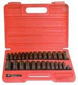 "Sunex 3360DD 3/8"" Dr. 28 Pc. SAE & Metric Master Double Deep Impact Socket Set"