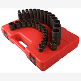 "Sunex 3330 3/8"" Dr. 12 Pt. 29 Pc. Metric Master Impact Socket Set"