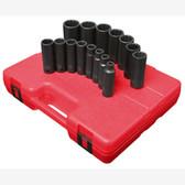 "Sunex 2670 1/2"" Dr. 12 Pt. 15 Pc. SAE Deep Impact Socket Set"
