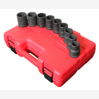 "Sunex 4687 3/4"" Dr. 12 Pt. 9 Pc. SAE Thin Wall Impact Socket Set"