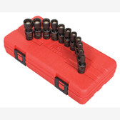 "Sunex 1825 1/4"" Dr. 12 Pt. 11 Pc. Metric Magnetic Universal Impact Socket Set"