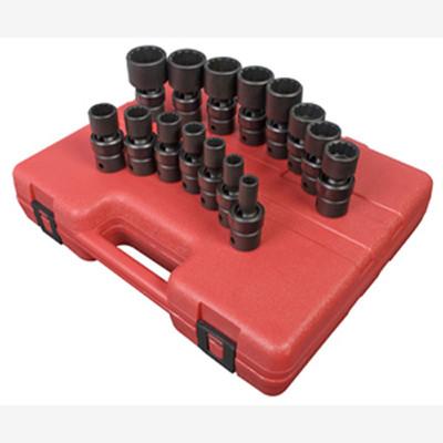 "Sunex 2856 1/2"" Dr. 12 Pt. 15 Pc. SAE Universal Impact Socket Set"