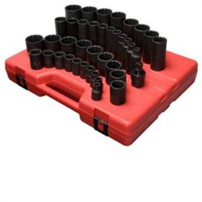 "Sunex 2698 1/2"" Dr. 12 Pt. 39 Pc. SAE Master Impact Socket Set"