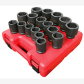 "Sunex 4684 3/4"" Dr. 17 Pc. Metric Heavy Duty Impact Socket Set"