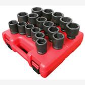 "Sunex 4684 3/4"" Dr. 17 Pc. Metric Heavy Duty Impact Socket Set"