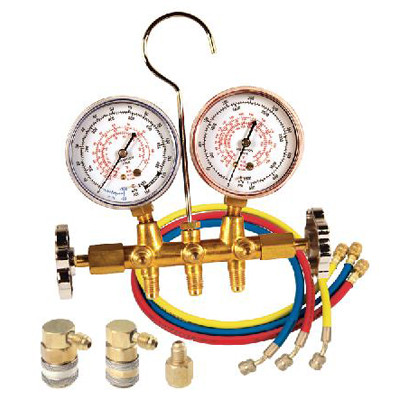 "FJC 6692 Brass Dual Manifold gauge set with 72"" hoses & quick couplers"
