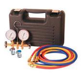 FJC 6725 Brass Manifold Gauge Set in Plastic Case w/ Manual Couplers