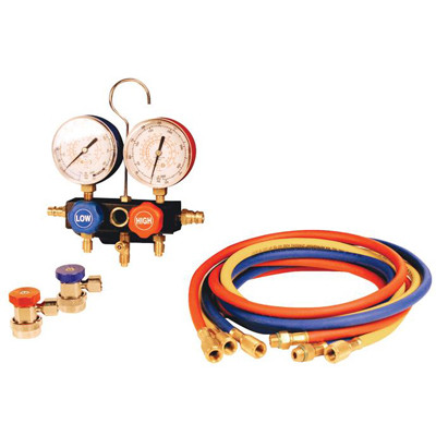 FJC 6799 Heavy Duty Manifold Gauge Set - 10 Foot Red & Blue Hoses, 8 Foot Yellow Hose