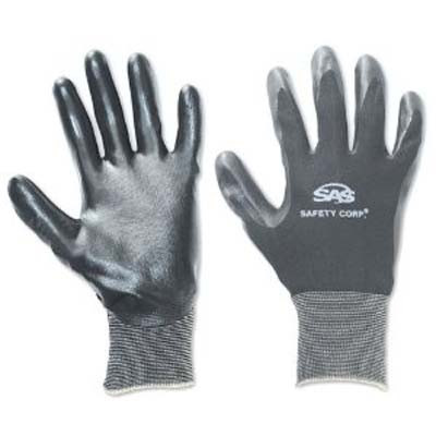 SAS Safety 640-1910 Black 15 Gauge Nylon Knit Shell Gloves