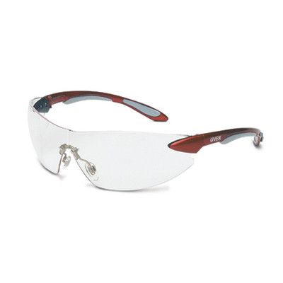 Uvex S4410 Ignite Red/Silver Frame Clear Safety Glasses